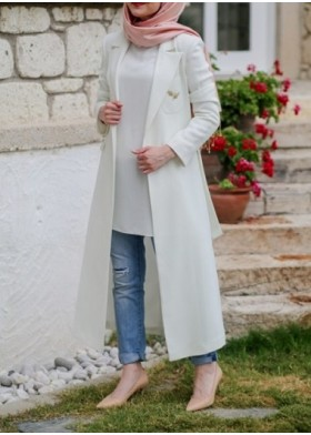 Manteau long écru